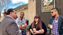 Assemblymember Ramos talking to constituent at the Rancho Cucamonga Community Coffee