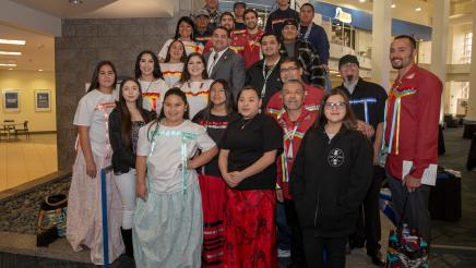 Assemblymember James C. Ramos with San Manuel dancers