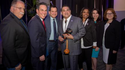 Assemblymember James C. Ramos with Assemblymember Jose Medina, COngressman Pete Aguilar, Speaker Anthony Rendon, Assemblymember Blanca Rubio and Assemblymember Eloise Reyes