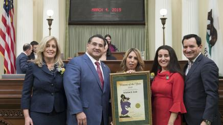 Assemblymember Ramos with Speaker Rendon and 2019 Woman of the Year Kristine Scott